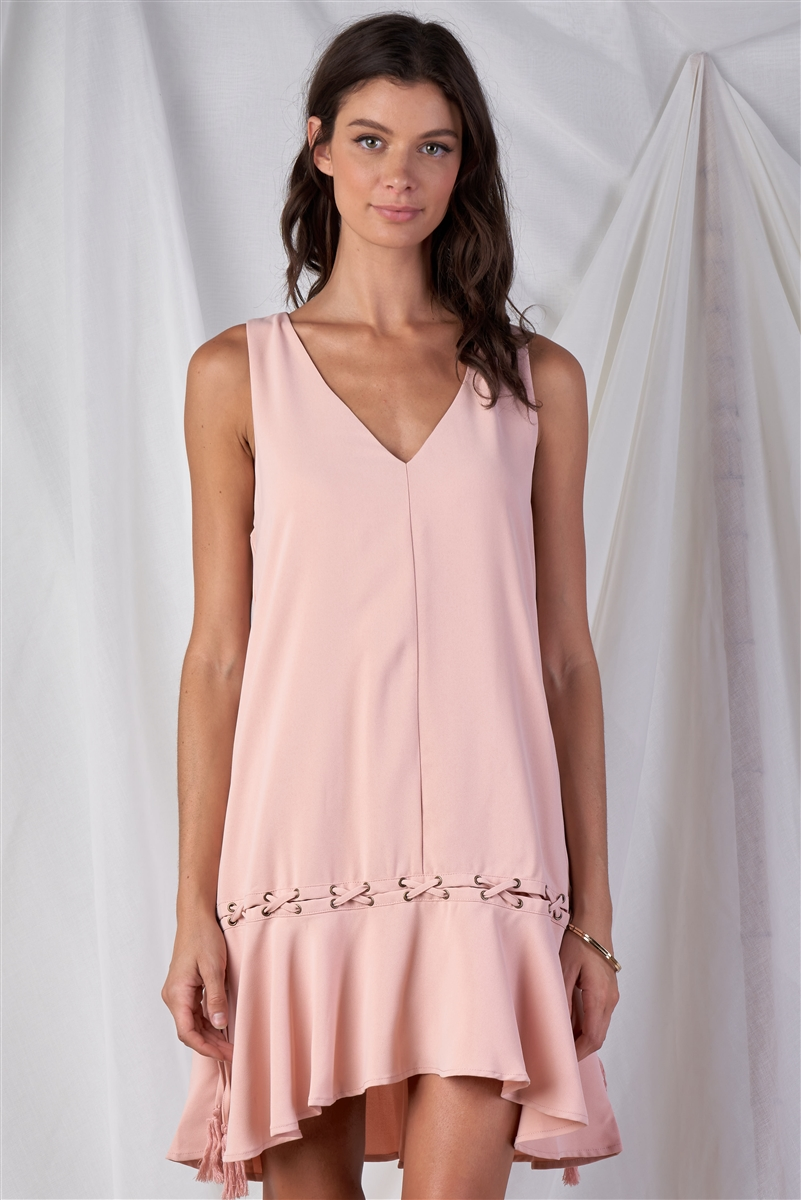 Blush Pink Loose Fit V-Neck Sleeveless Cross Thread Ruffle Bottom Draw String Tassel Tie Hem Mini Dress