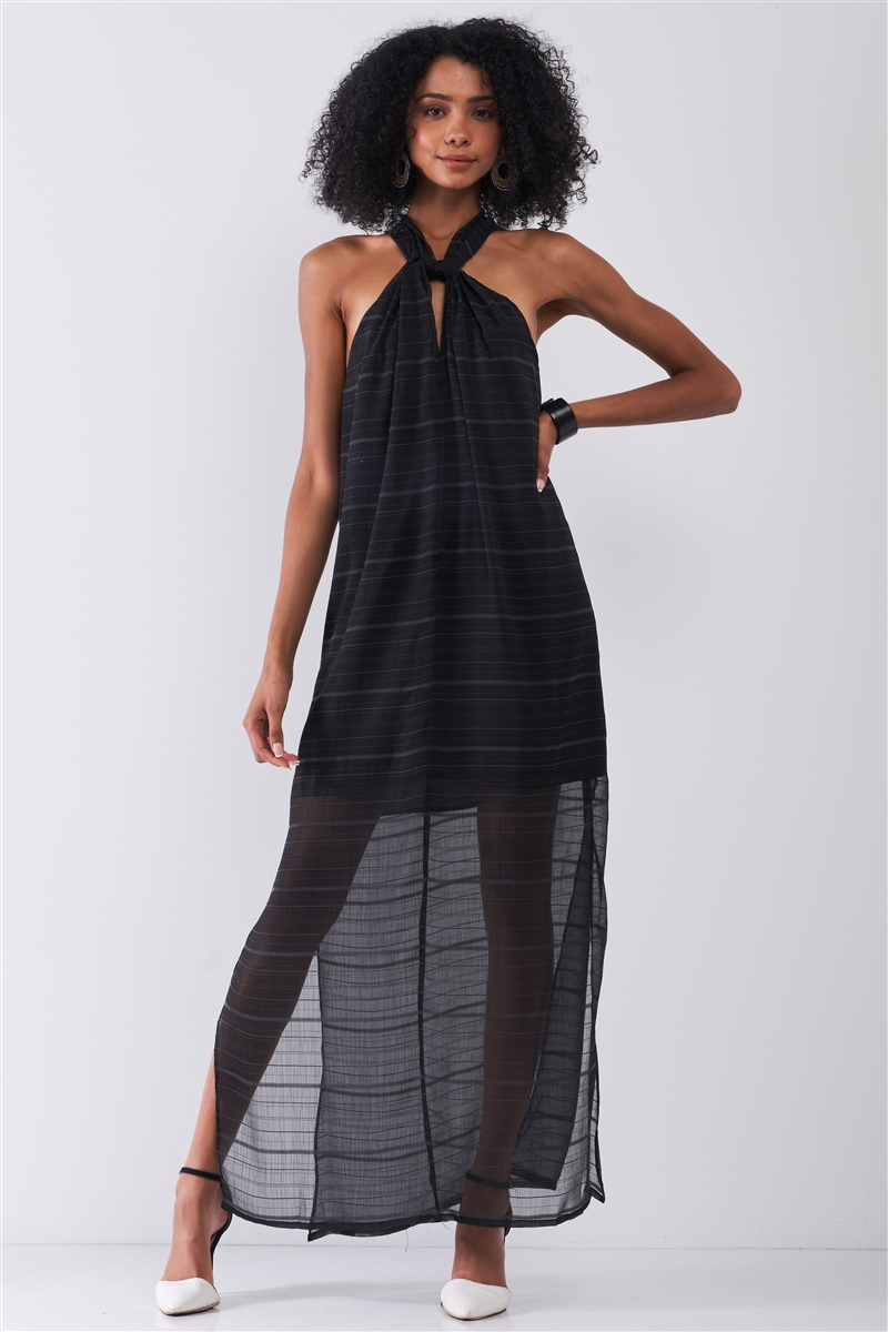 Black Stripped Chiffon Sleeveless Criss-Cross Halter Neck Maxi Dress /1-2-2-1