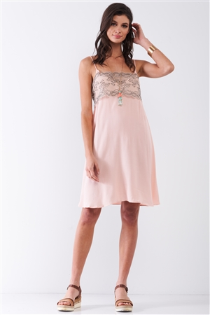 Baby Pink Sleeveless V-Neck Floral Lace Mesh Detail Relaxed Mini Dress /1-1-2