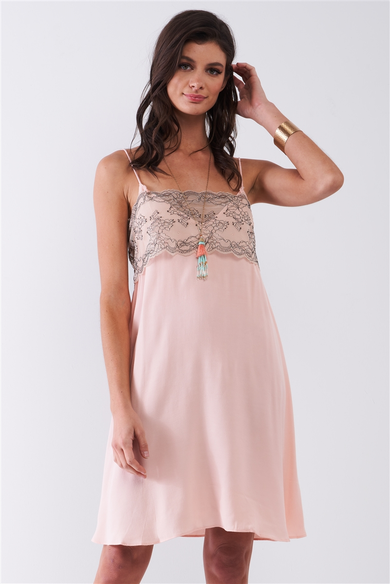 Baby Pink Sleeveless V-Neck Floral Lace Mesh Detail Relaxed Mini Dress /1-2-2-1