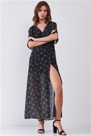 Astra Black Multicolor Star Print Wrap Front Flare Sleeve V-Neck Self-Tie Waist Slit Maxi Dress /1-2-2-1