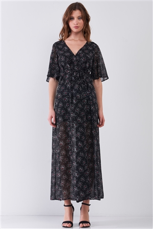 Astra Black Multicolor Star Print Wrap Front Flare Sleeve V-Neck Self-Tie Waist Slit Maxi Dress /1-3-2