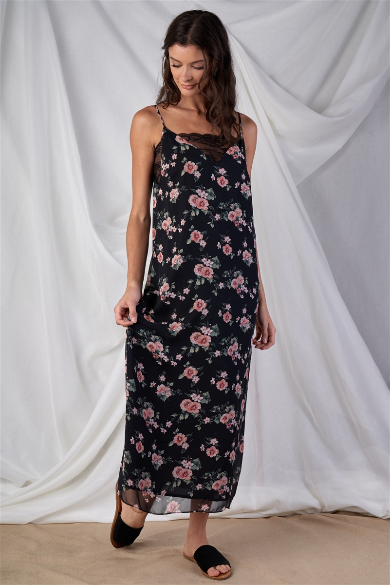 Black Multi Color Chic Floral Print V-Neck Straight Fit Sleeveless Maxi Dress With Lace Bustier Underline Detail /1-2-2