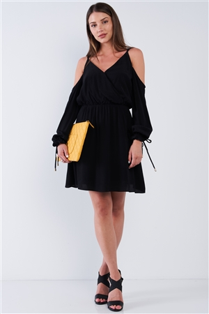 Black Wrap V-Neck Long Off-The-Shoulder Draw String Tie With Aglet Tip Sleeve Mini Dress /1-2-2-1
