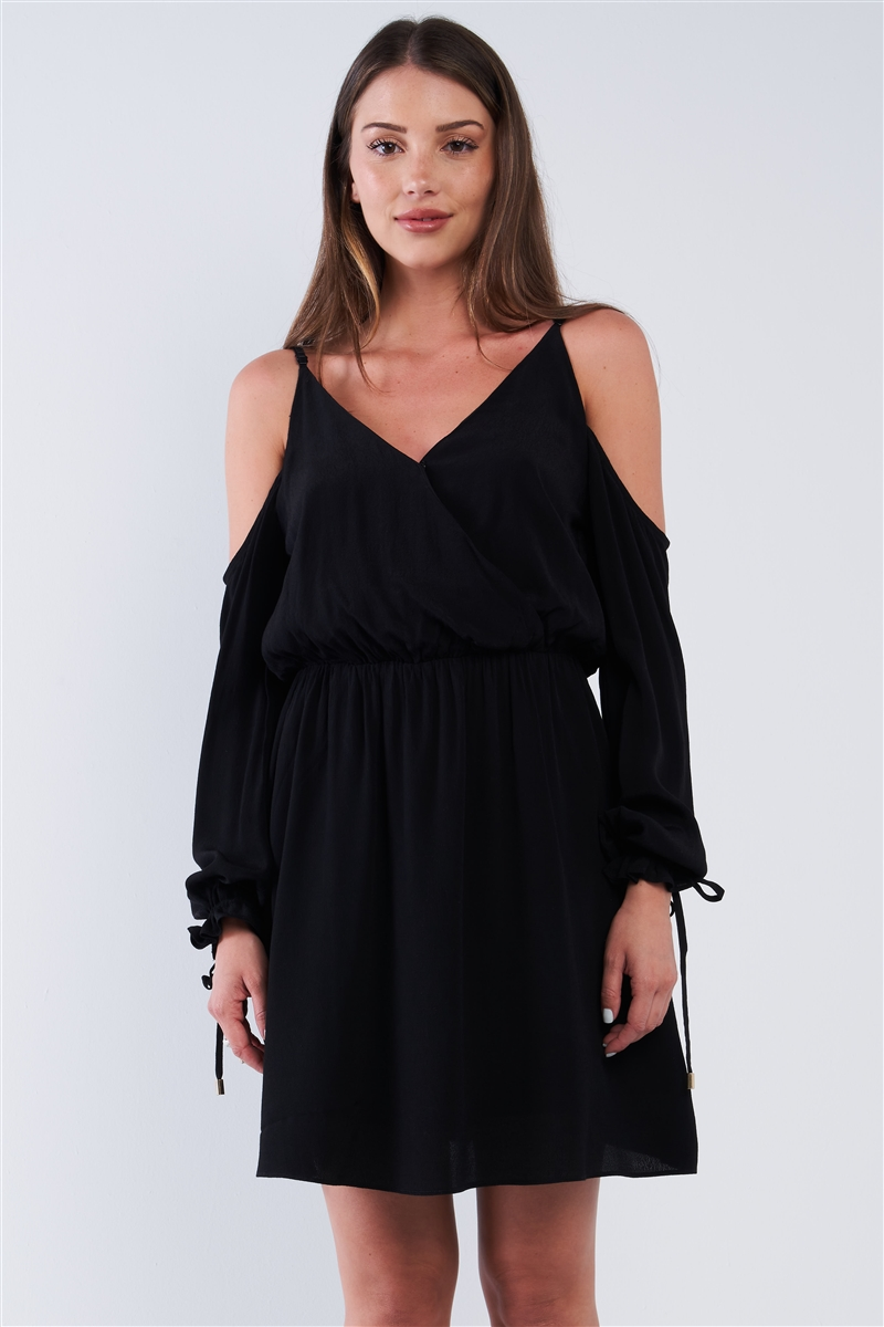 Black Wrap Deep Plunge V-Neck Long Off-The-Shoulder Draw String Aglet Tip Hem Sleeve Mini Dress /2-1-3