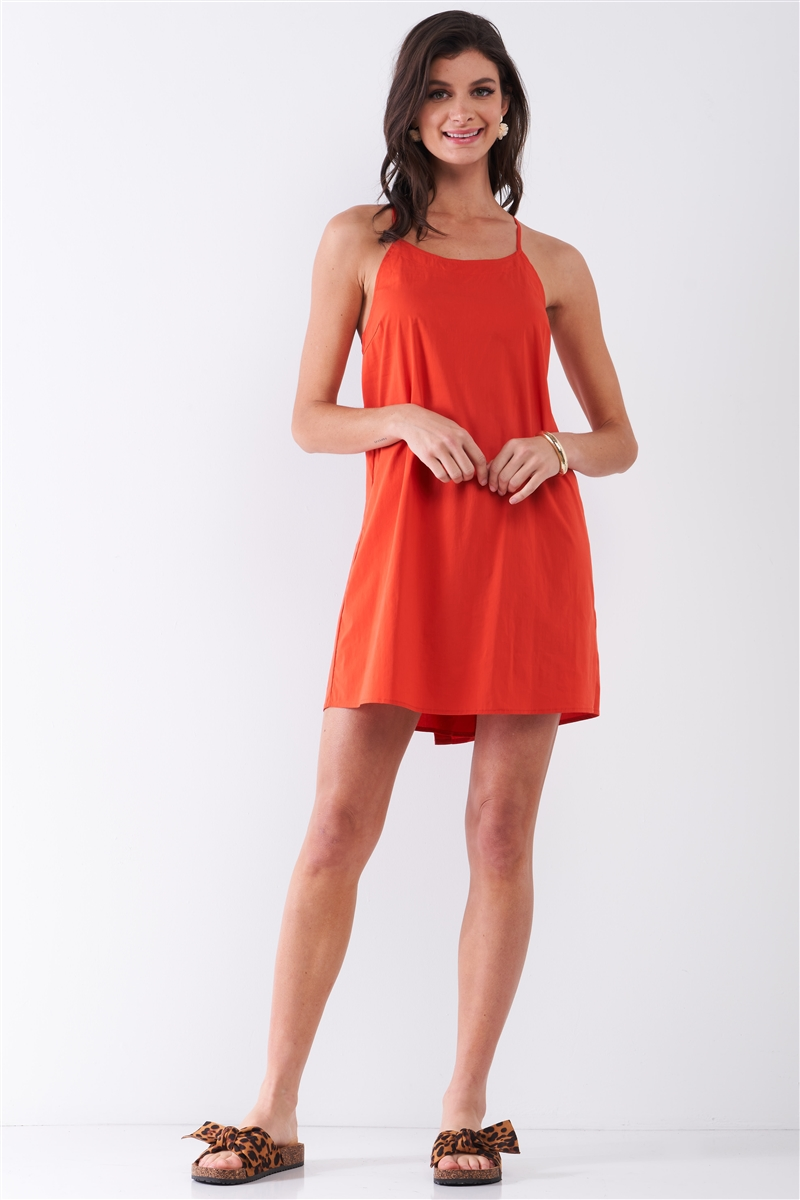 Tomato Red Sleeveless U-Neck Back Botton Down Detail Criss-Cross Straps Mini Dress /2-2-2