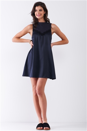 Dark Navy Combined Sleeveless Satin Front Lace Trim Mock Neck Mini Dress /1-2-1