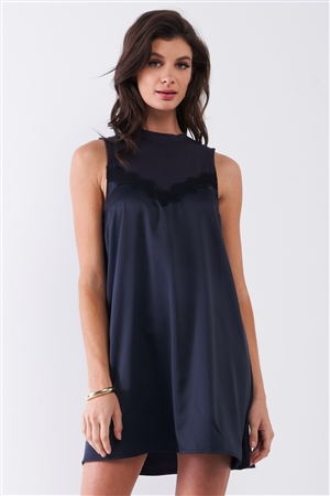 Dark Navy Combined Sleeveless Satin Front Lace Trim Mock Neck Mini Dress /1-2-2-1