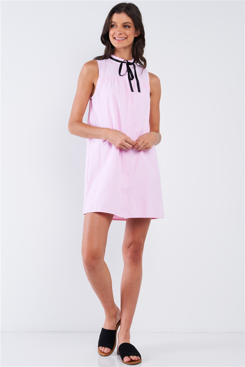 Baby Pink Button Down Sleeveless Ribbon Tie Lettuce Hem Round Neck Loose Fit Babydoll Mini Dress /1-2-2-1
