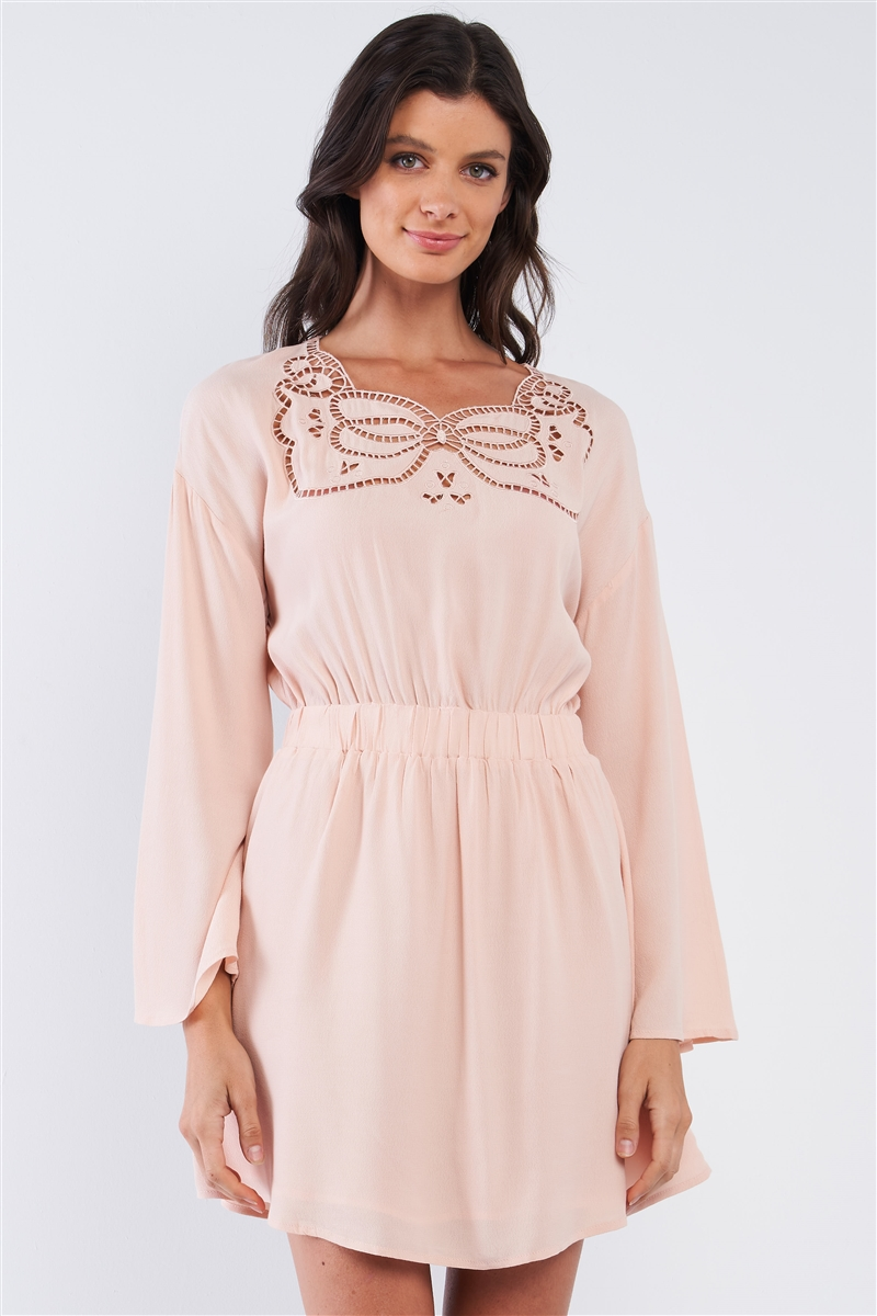 Nude Long Sleeve Self-Tie Elastic Waist Crochet Butterfly Shaped Serpent Cut Out Chest Embroidery Detail Romper /1-2-2-1