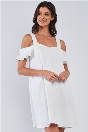 Off-White Relaxed Fit V-Neck Ruffle Sleeve Mini Dress