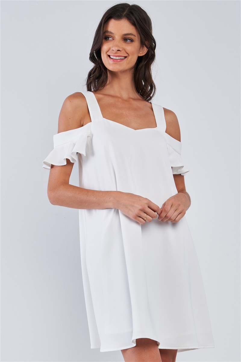Off-White Relaxed Fit V-Neck Ruffle Sleeve Mini Dress /1-1-1-2-2