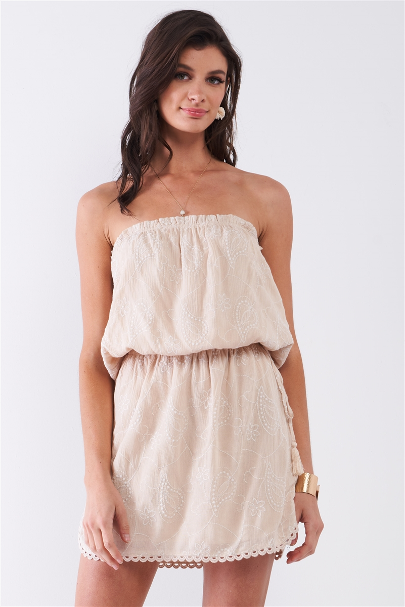 Tan Beige Floral Embroidery Sleeveless Smock Cut-Out Back Detail Gathered Waist Mini Dress /1-2-2-1