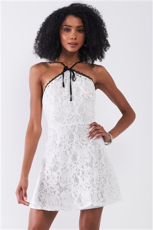 Playdate White Lace Crochet Sleeveless High Neck Open Back Detail Fit & Flare Mini Dress /1-2-2-1