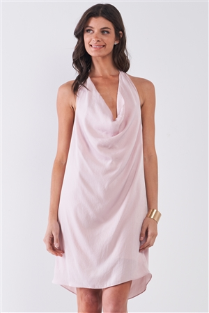 Solid Blush Satin Open Back Self-Tie Halter Cowl Neck Tube Mini Dress /1-2-2-1