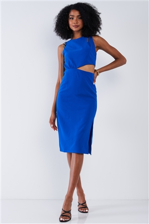 Solid Cobalt Classy Cut-Out Waist Detail Round Neck Sleeveless Tight Fitted Side Slit Bottom Midi Dress /1-2-2-1