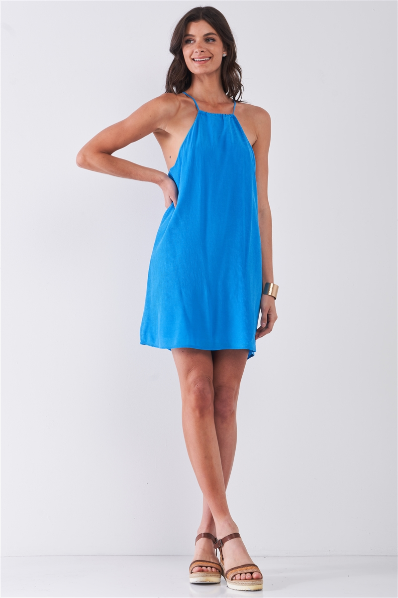 Sky Blue Sleeveless Square Neck Loose Fit Mini Dress /2-3-2