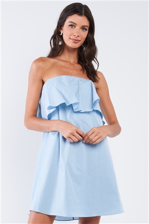 Baby Blue Sleeveless Relaxed Fit Tube Ruffle Chest Hem Mini Dress