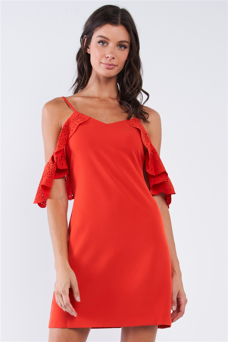 Tomato Red Cocktail V-Neck Crochet Ruffle Off-The-Shoulder Hem Tube Mini Dress