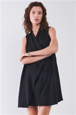 Black V-Neck Sleeveless Wrap Loose Fit Mini Dress /1-2-2-1