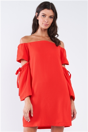 Coral Red Off-The-Shoulder Relaxed Fit Cut Out Bell Sleeve With Elastic Ribbon Tie Mini Dress