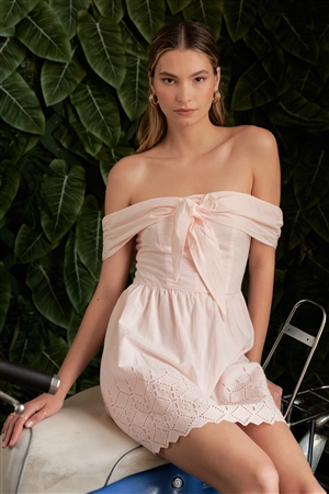 Light Pink Sleeveless Off-The-Shoulder Self-Tie Front Crochet Bottom Detail Mini Dress /1-2-2-1