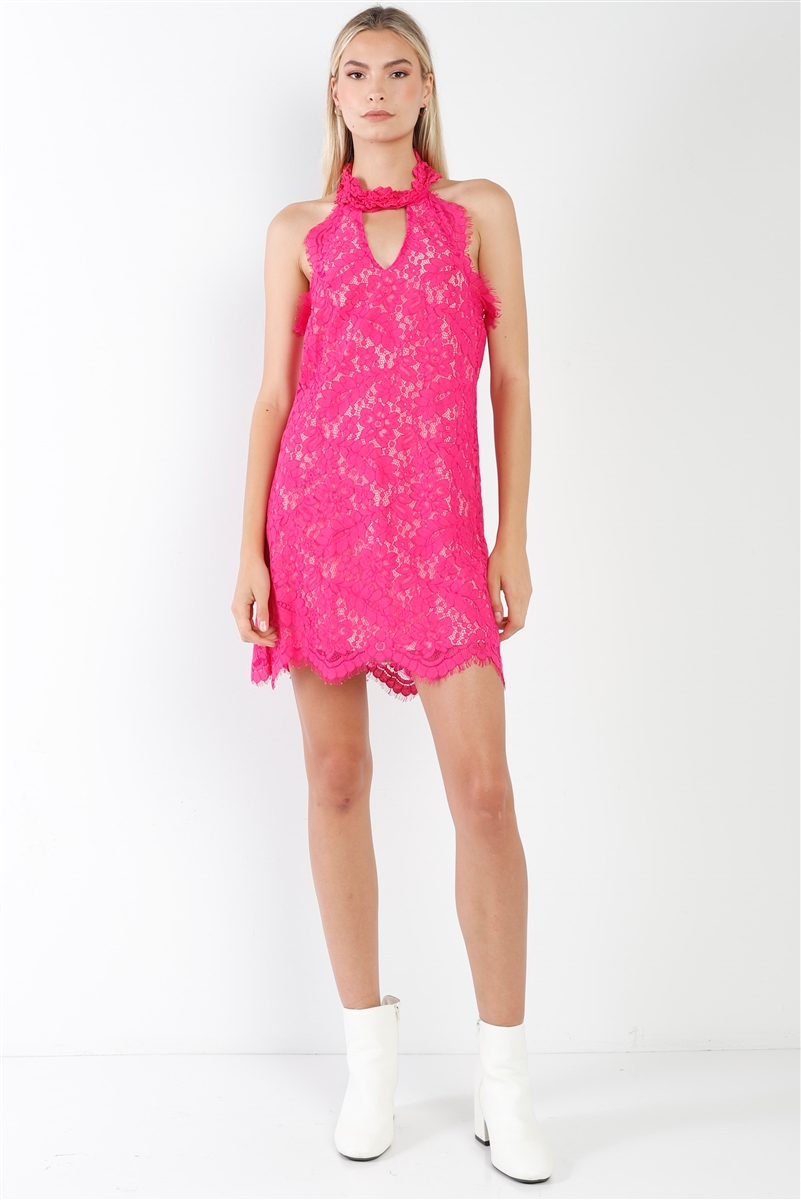 Magenta Crochet Embroidery Halter Neck Sleeveless Cut-Out Detail Mini Dress /1-2-2-1