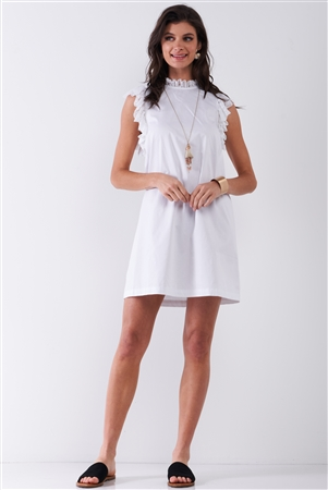 White Solid Sleeveless Lace Frill Trim Relaxed Mini Dress /1-1-2-1