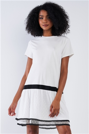 Off-White Black Detail Loose Shapeless Lined Double Mesh Bottom Layer Crew Neck Mini Sleeve T-Shirt Mini Dress