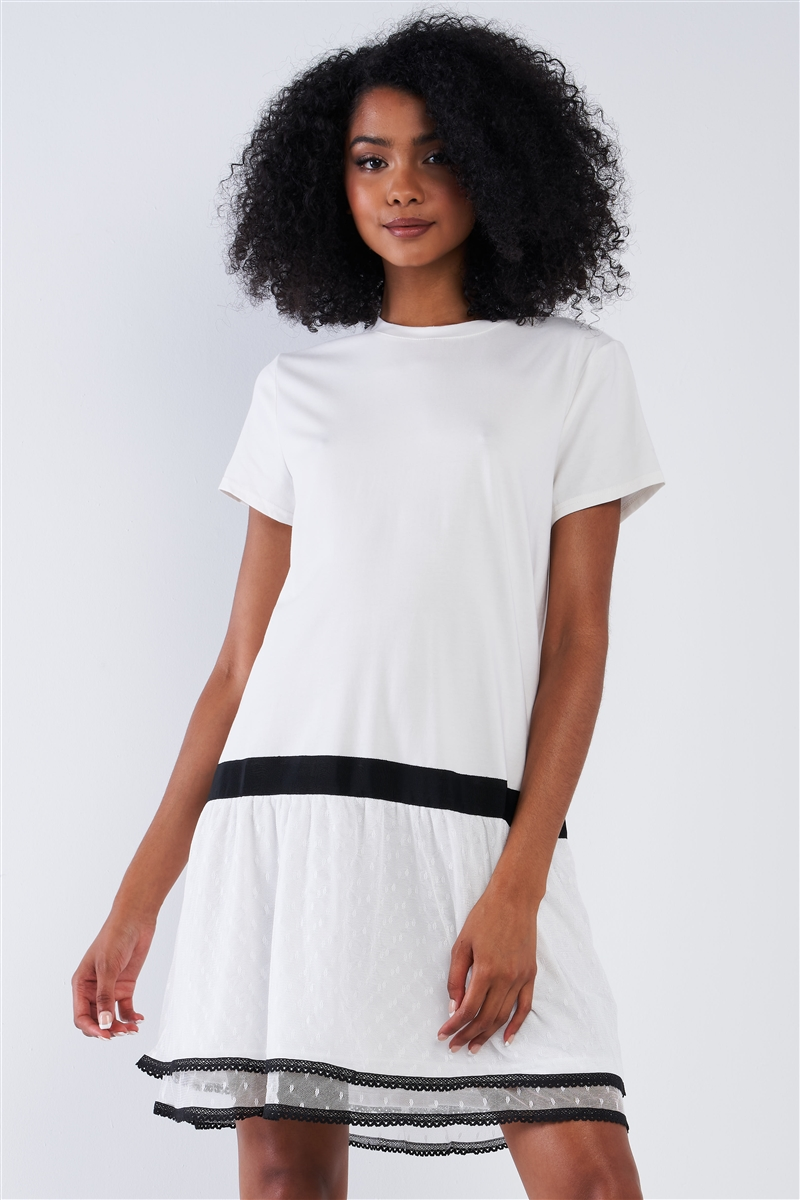 Off-White Black Detail Loose Shapeless Lined Double Mesh Bottom Layer Crew Neck Mini Sleeve T-Shirt Mini Dress /1-2-2-1