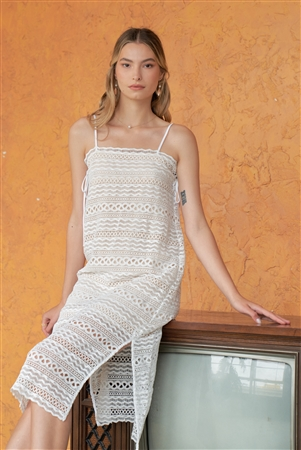 White & Nude Crochet Sleeveless Square Neck Side Split Midi Dress /1-2-2-1