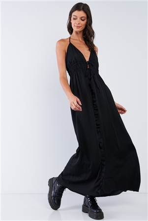 Solid Black Satin Open Back Halter Draw String Tie Top Ruffle Vertical Top-To-Bottom Hem Stretchy Waistline Maxi Dress