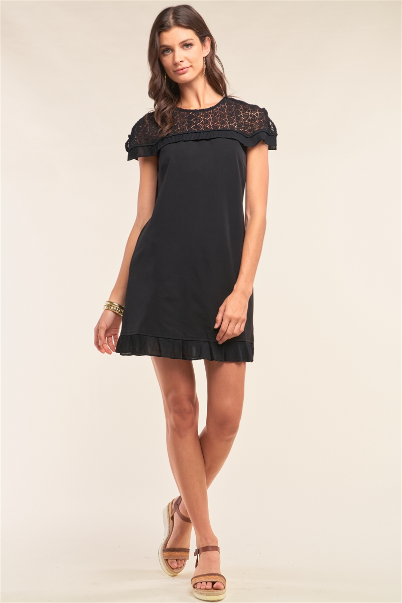 Black Crochet Lace Trim Self-Tie Crew Neck Pleated Hem Detail Relaxed Fit Mini Dress /1-3-1