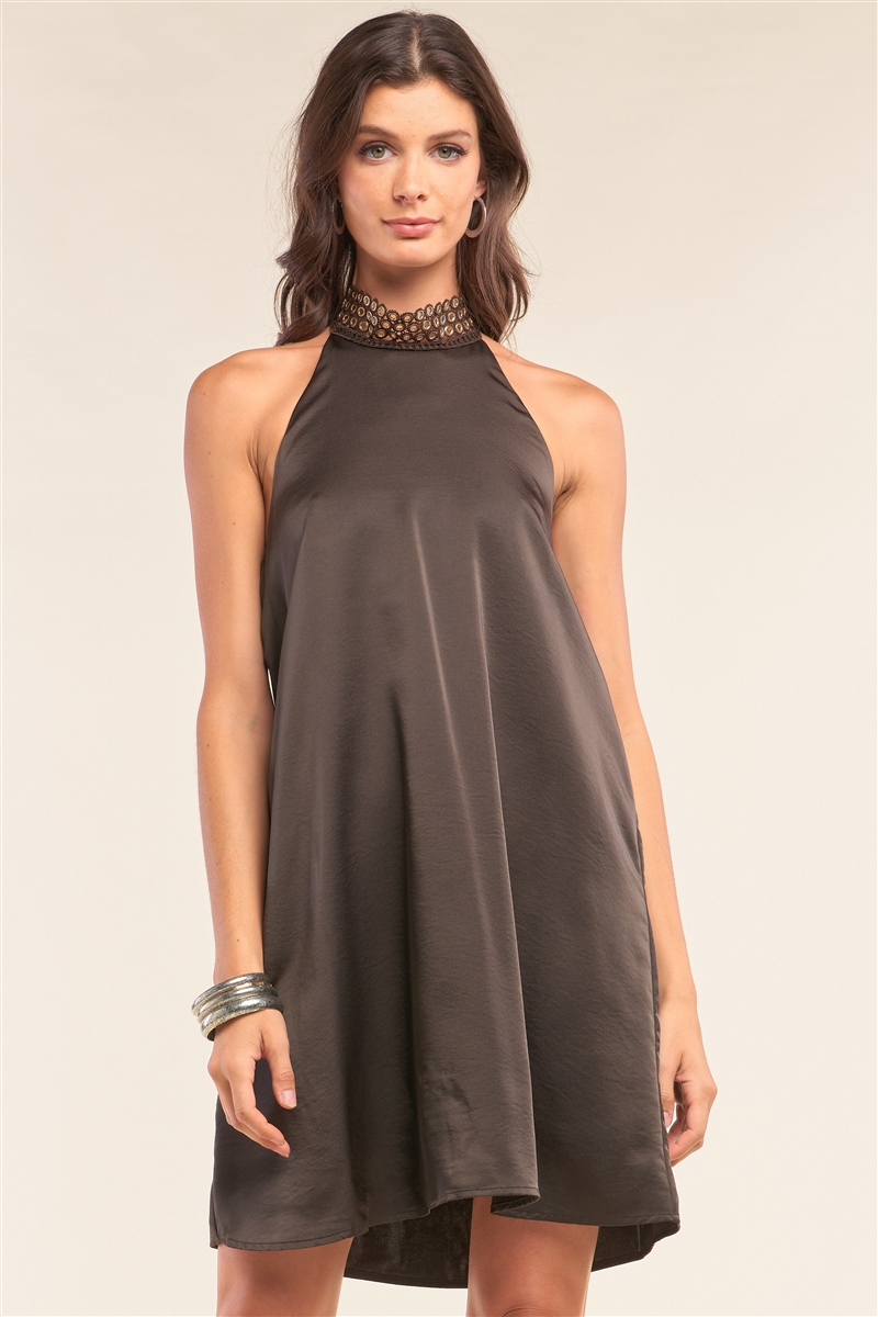 Dark Brown Satin Sleeveless Relaxed Fit Keyhole Trim Self-Tie Halter Neck Mini Dress /2-1-1-2