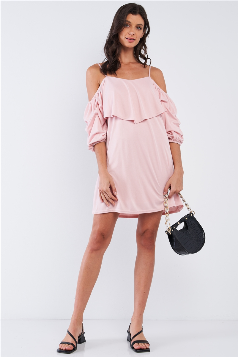 Blush Pink Loose Fit V-Neck Off-The-Shoulder Gathered Sleeve Detail Mini Dress /2-2-1