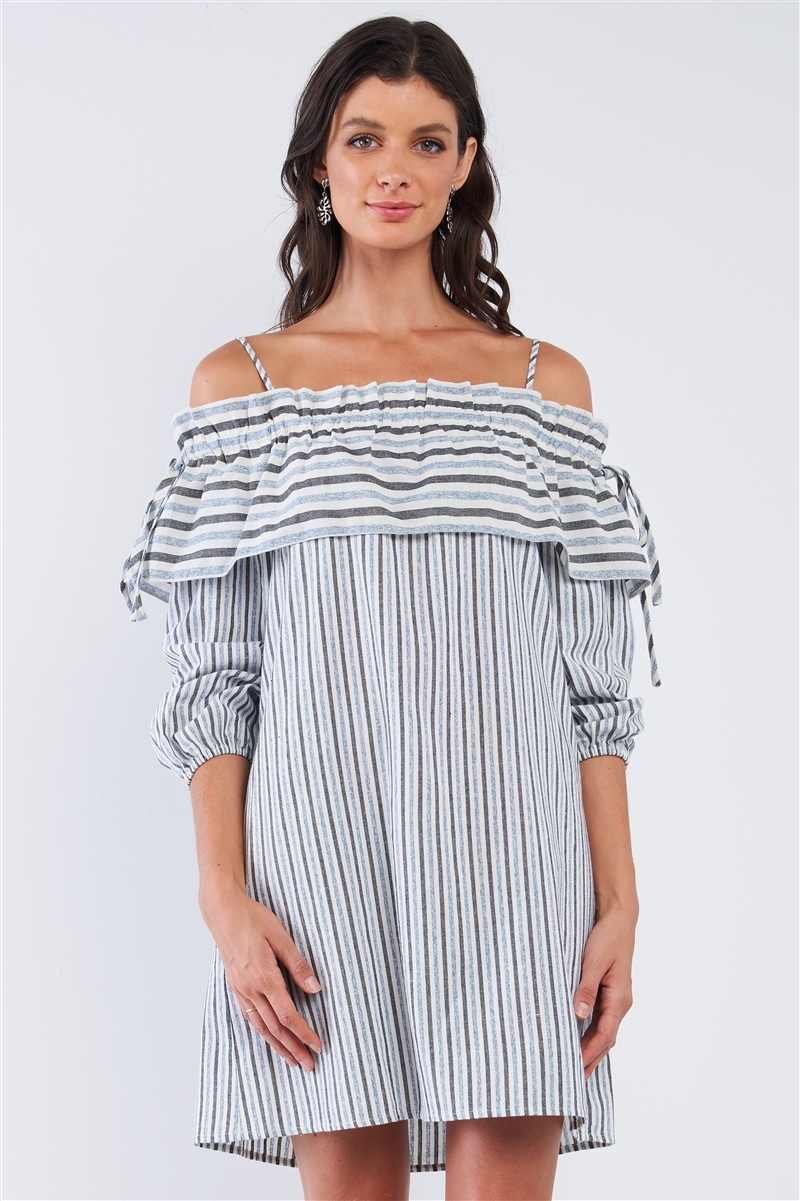 Blue&Black Loose Fit Striped Off-The-Shoulder Long Sleeve Ruffle Hem Mini Dress /1-2-2-1