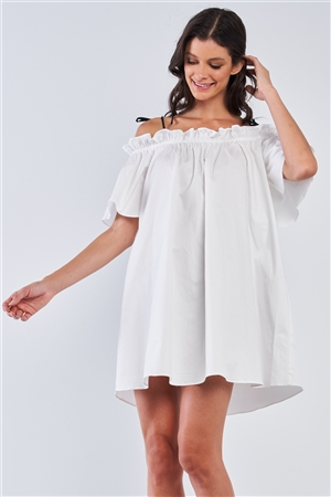 White Off The Shoulder Ruffle Detail Self-Tie Cami Straps Mini Dress