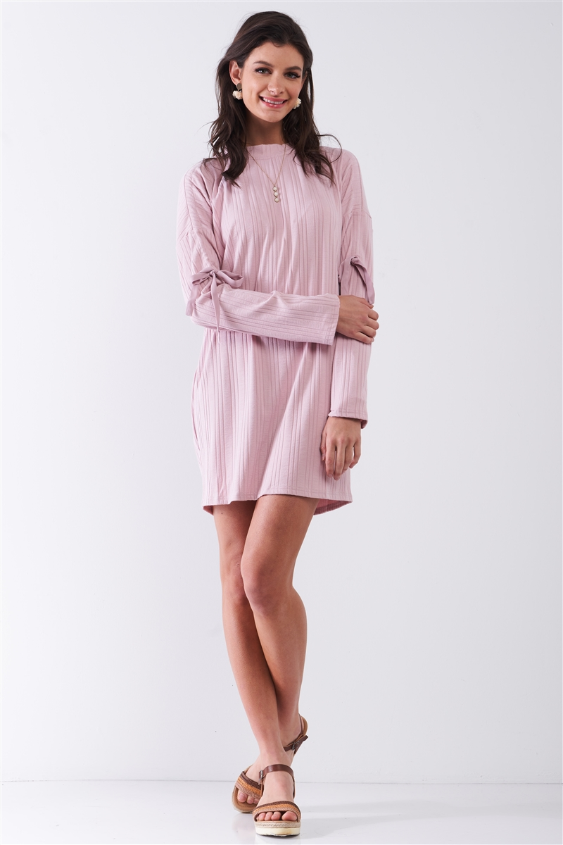 Shell Pink Ribbed Self-Tie Detail Long Sleeve Mock Neck Loose Mini Dress /1-2-2
