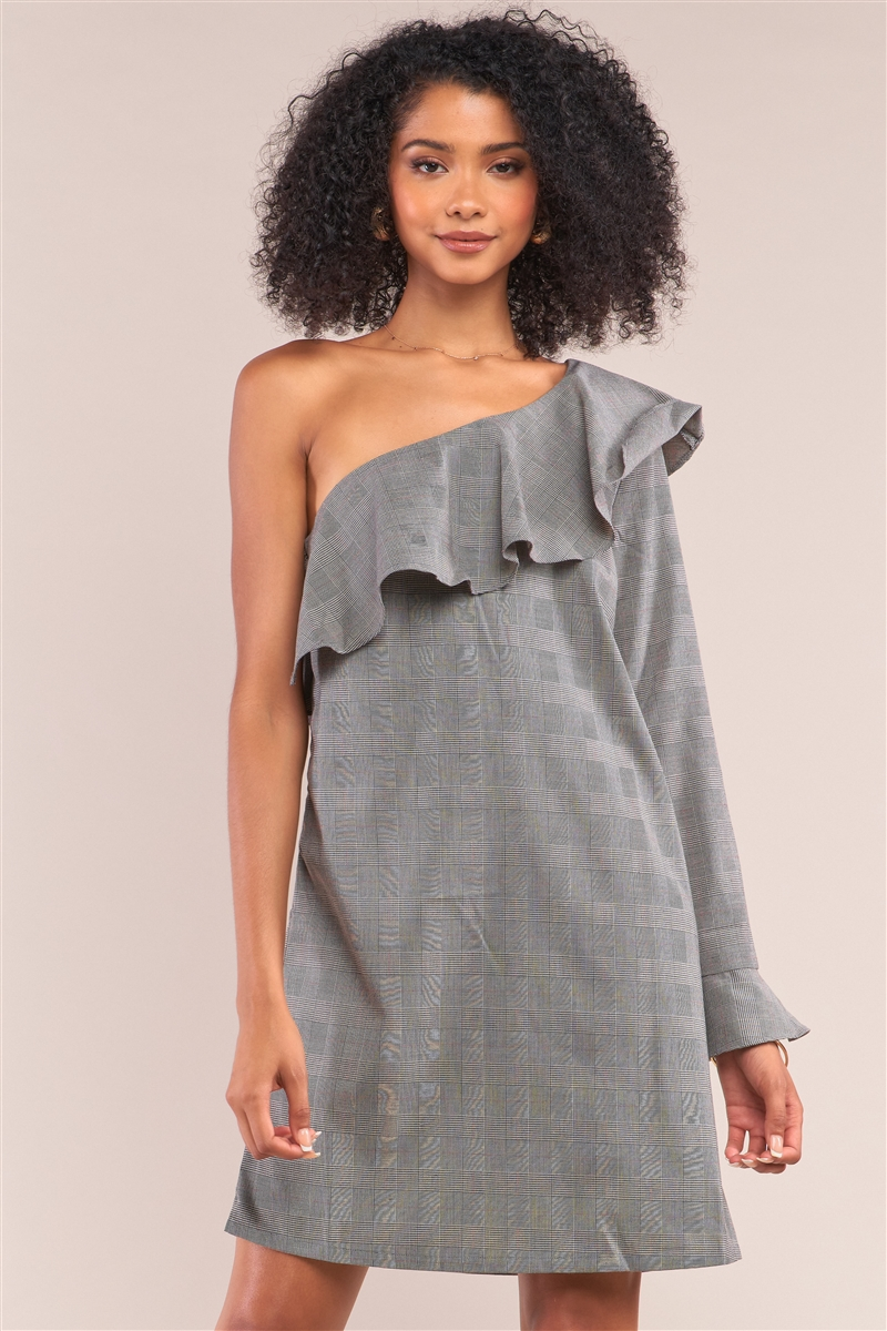 Grey Checkered Print One-Shoulder Flare Hem Long Sleeve Relaxed Fit Mini Dress /1-2-2-1