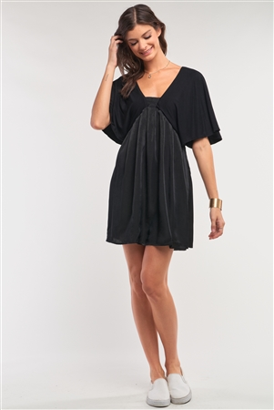 Onyx Black Satin Self-Tie Back Neck Angel Sleeve Pleated Mini Dress /1-2-2