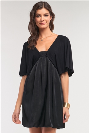 Onyx Black Satin Self-Tie Back Neck Angel Sleeve Pleated Mini Dress /1-2-2-1