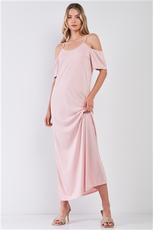 Blush Ribbed Cold Shoulder Round Neck Side Slit Detail Maxi Dress /1-2-2-1