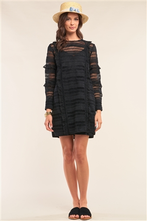 Black Crochet Lace Mesh Crew Neck Long Sleeve Frill Trim Detail Mini Dress /2-2-1
