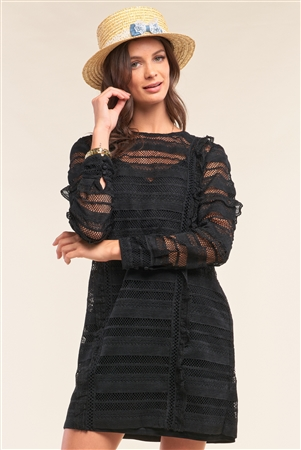 Black Crochet Lace Mesh Crew Neck Long Sleeve Frill Trim Detail Mini Dress /1-2-2-1