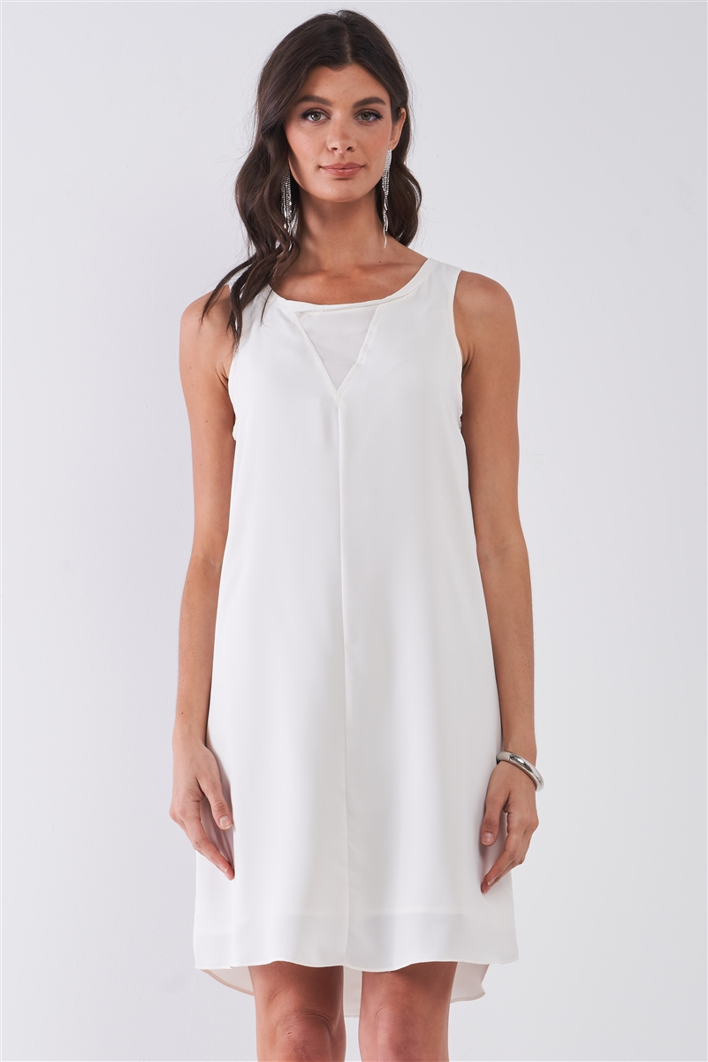 White Round Neck Sleeveless Front Cut-In Mesh Detail Mini Dress /1-2-2-1