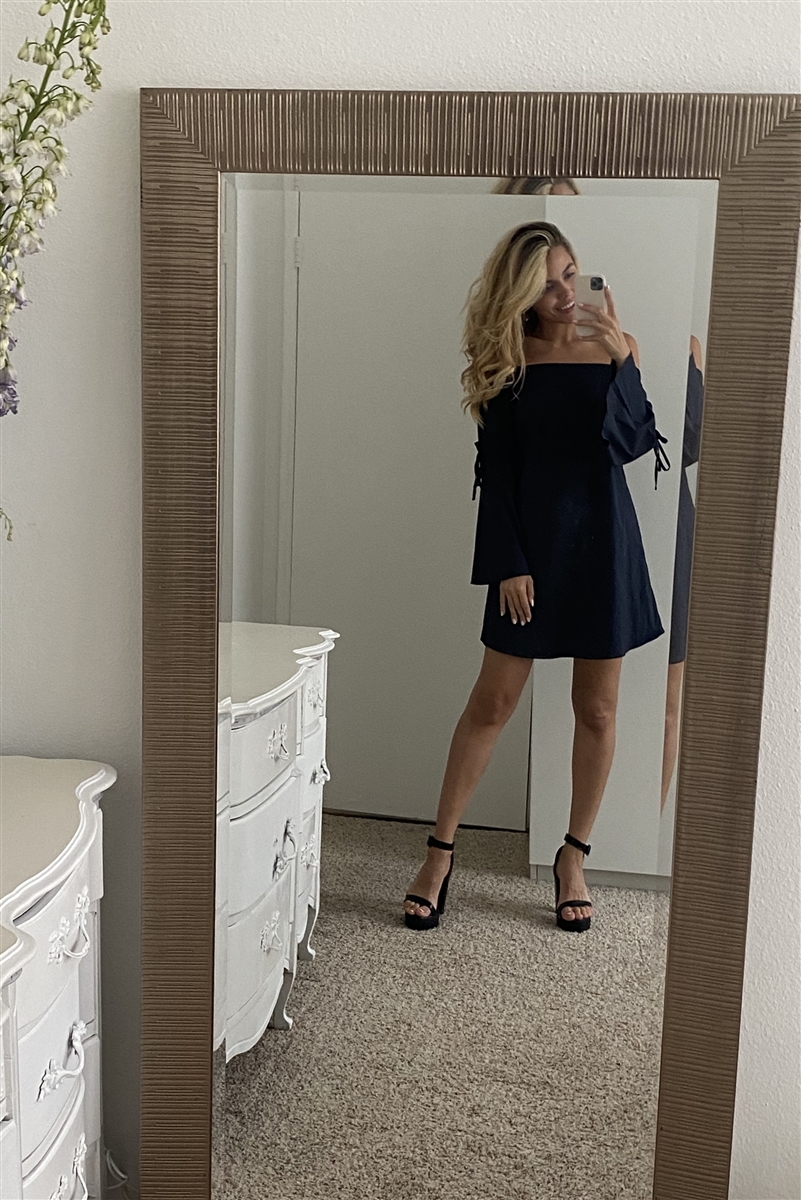 Navy Blue Loose Fit Off-The-Shoulder Self-Tie Frill Trim Angel Sleeve Mini Dress /1-2-1
