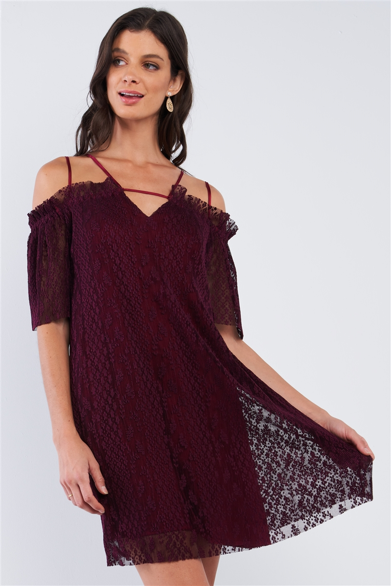 Wine Red Loose Printed Ribbed Mesh Off-The-Shoulder Tube Mini Dress With Satin Multi Straps /1-1-2