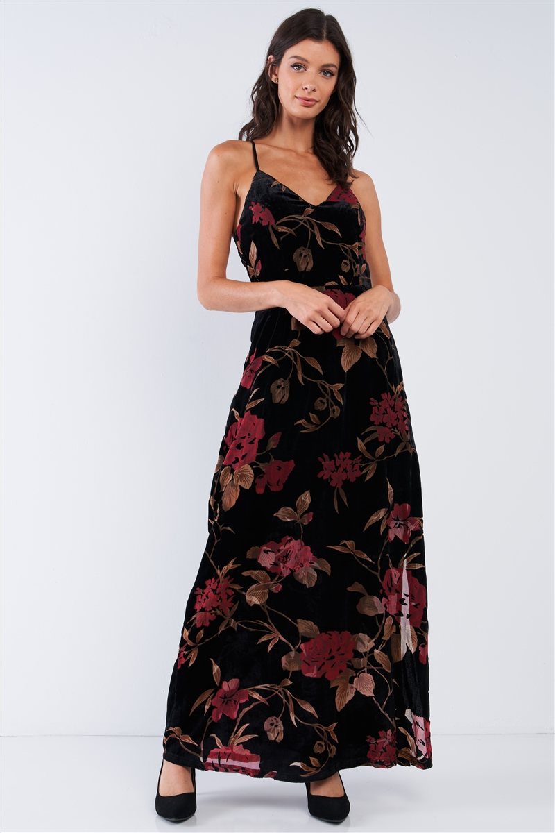 Black Velvet Multi Color Floral Print V-Neck Criss-Cross Back Straps Maxi Dress /3-1-2