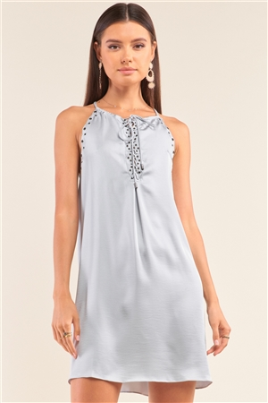 Silver Dust Satin Front Lace Up Grommet Studded Mini Dress /1-2-2-1