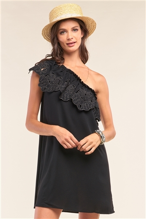 Black One-Shoulder Flare Hem Eyelet Embroidery Detail Sleeveless Relaxed Fit Mini Dress /1-2-2-1